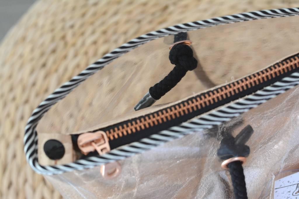 k-bas Metalen rits Rosé Goud 50cm Zwart