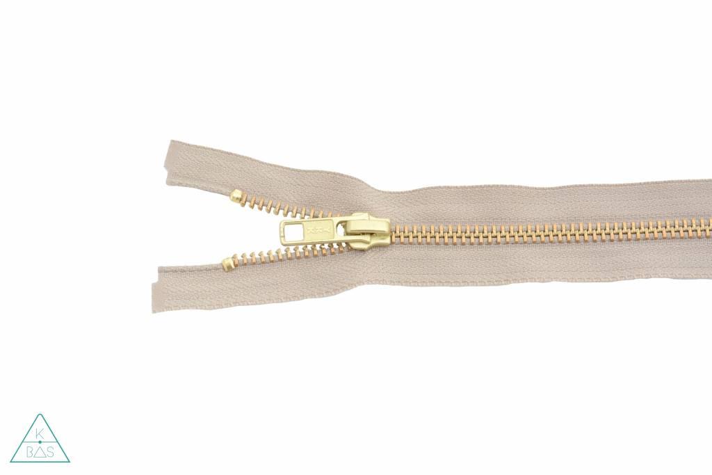 YKK Deelbare Metalen rits Goud 45cm Beige