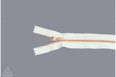 Fijne metalen rits Rosé Goud 10cm Ivoor