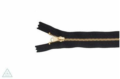 Fijne metalen rits Goud 18cm Zwart