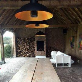 Hangende Infrarood Design Terrasverwarming en Buitenlamp Blank