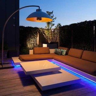 Vrijstaande Infrarood Design Terrasverwarming en Buitenlamp Goud