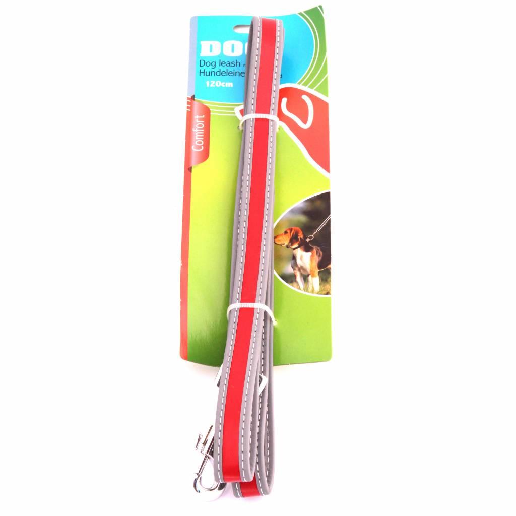 Reflecterende hondenriem grijs/rood 120cm
