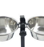 Huismerk H-standaard met voer en drinkbak 21 cm 1.75  liter