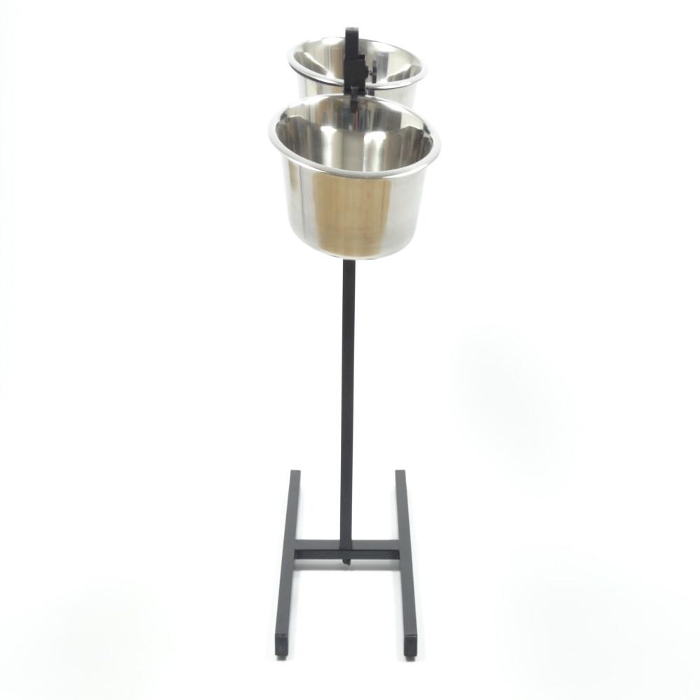 Huismerk H-standaard met voer en drinkbak 25 cm 2.8 liter