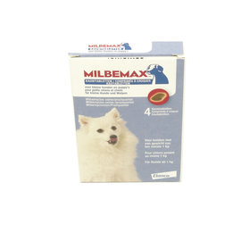 Milbemax kauwtabletten voor kleine honden en Puppy's 4 stuks