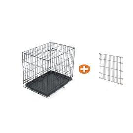 KLD Hondenbench zwart met benchverkleiner XS 61x42x48 cm.