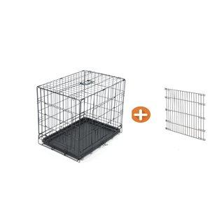 KLD Hondenbench zwart met divider XS 61x42x48 cm.