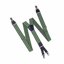 Bretels Groen met  dubble Licht Groene streep