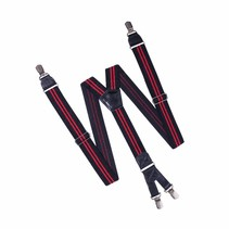 Bretels Zwart met dubbele Rode streep