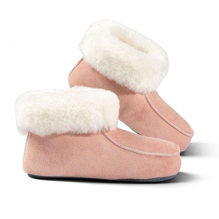 Fellhof Spaanse slof hoog model 100% Wol met bontkraag-Roze