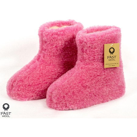 FAST Wool limited edition wollen sloffen roze