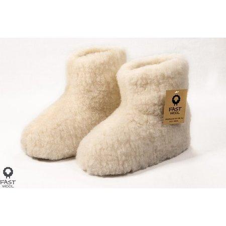 FAST Wool wollen Sloffen wit
