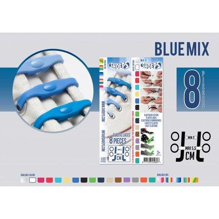 Shoeps Elastische veter blue mix 8 stuks