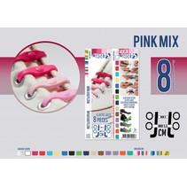 Elastische veter pink mix 8 stuks