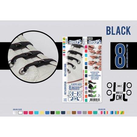Shoeps Elastische veter zwart 8 stuks