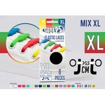 Elastische veter mix regenboog 8 stuks XL