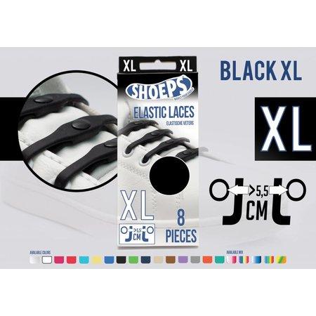 Shoeps Elastische veter zwart 8 stuks XL