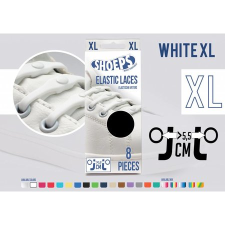 Shoeps Elastische veter wit 8 stuks XL