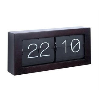 Karlsson Horloge Flip Clock 'Boxed XL - dark wood