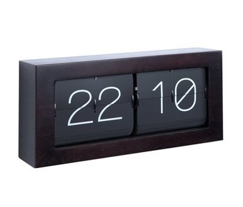 Horloge Flip Clock 'Boxed XL' (dark wood)