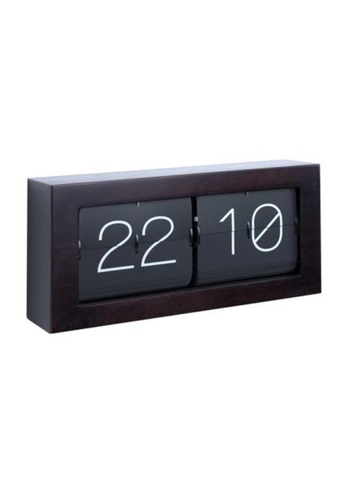 Horloge Flip Clock 'Boxed XL' (dark wood)
