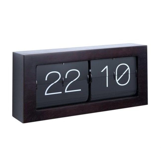 Horloge Flip Clock Boxed XL - dark wood