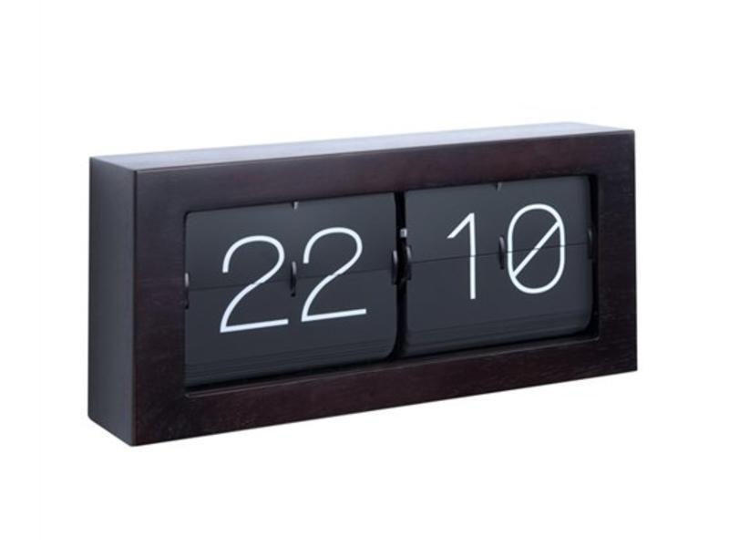 Karlsson Horloge Flip Clock 'Boxed XL' (dark wood)