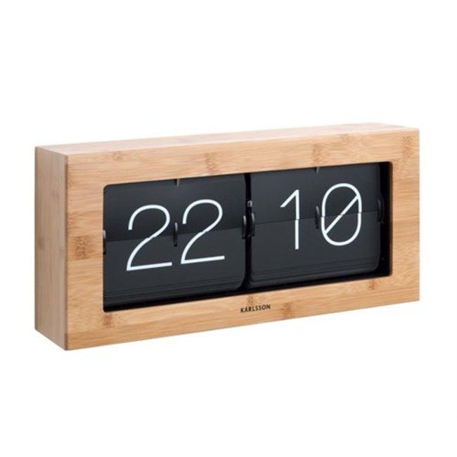Karlsson Horloge Flip Clock Boxed XL Bamboo