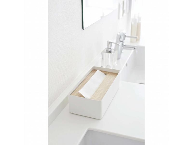 Yamazaki  Tissue Case 'Rin' (natural/white)
