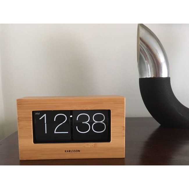 Karlsson Flip Clock 'Boxed' (bamboo)