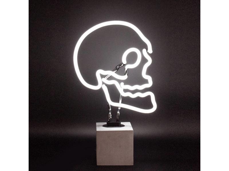 locomocean Neon Lamp 'Doodshoofd' (betonnen voet, L)