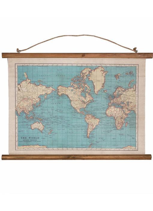 World Map Canvas 'Vintage'