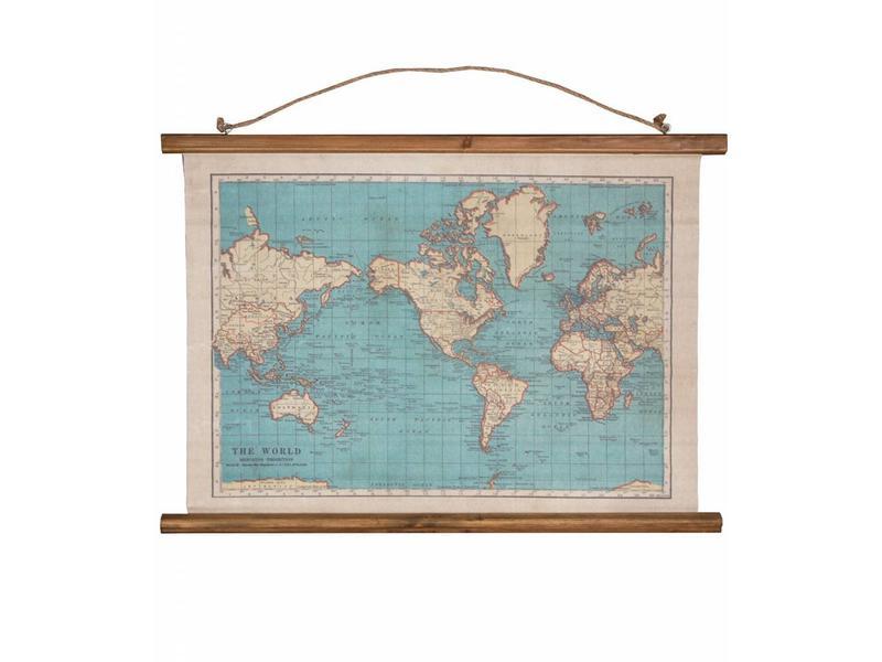 Wereldkaart Canvas 'Vintage World Map'