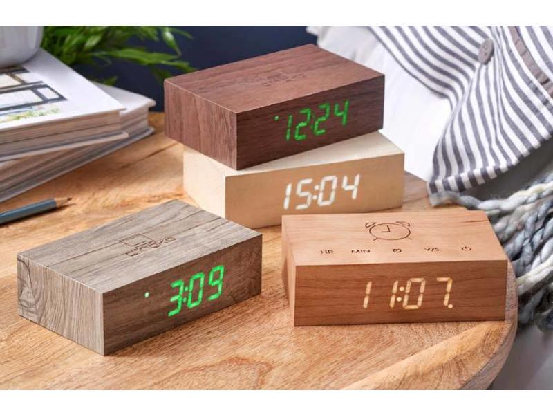 Gingko Réveil Flip Click Clock 'Noix'