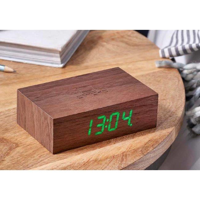 Gingko - Flip Click Clock Wecker - walnuss