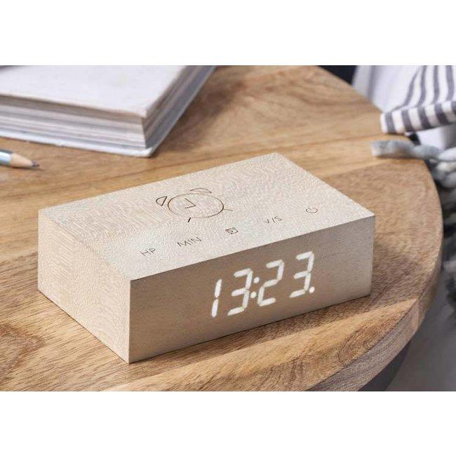 Flip Click Clock Wekker - witte esdoorn