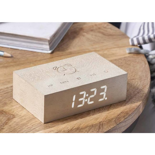 Gingko Réveil Flip Click Clock 'Erable Blanc'
