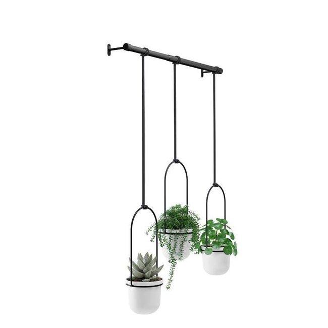 Umbra - Bloempot Triflora - hangend - wit/zwart