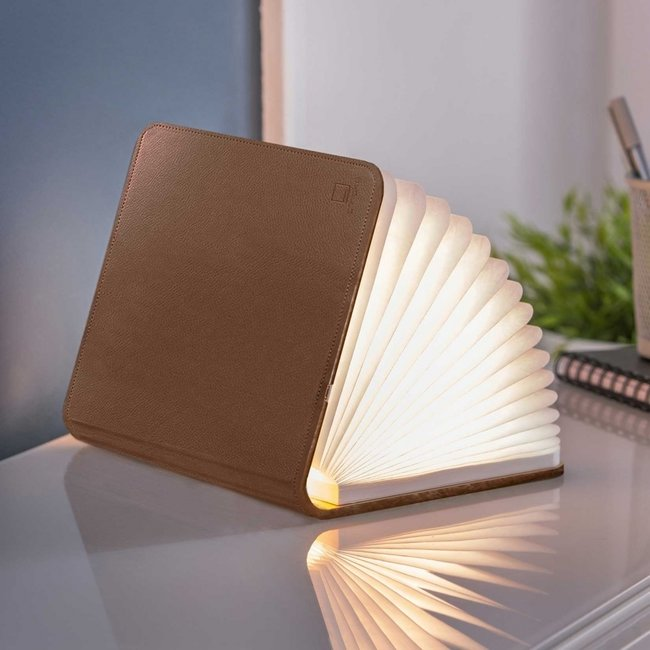 Gingko Smart Book Light - bruin leder - large