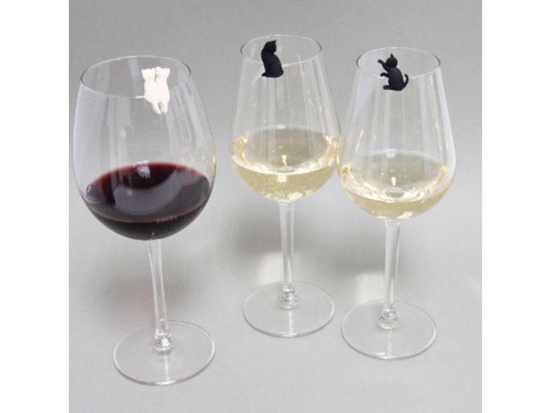 Invotis Wine Glass Markers 'Meow Cat'
