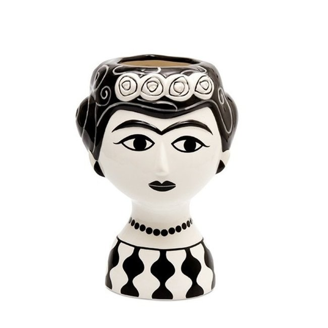 Kitsch Kitchen Vaas Marisol - keramiek - zwart wit