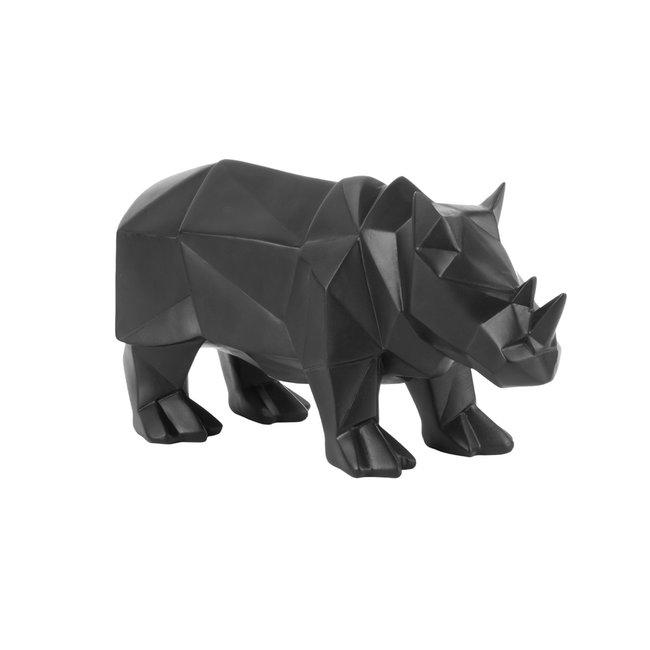 Present Time Statue Origami Rhino - black - ornament