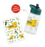 A Little Lovely Co. Drinkfles Jungle Tijger - voor kids - met versierstickers