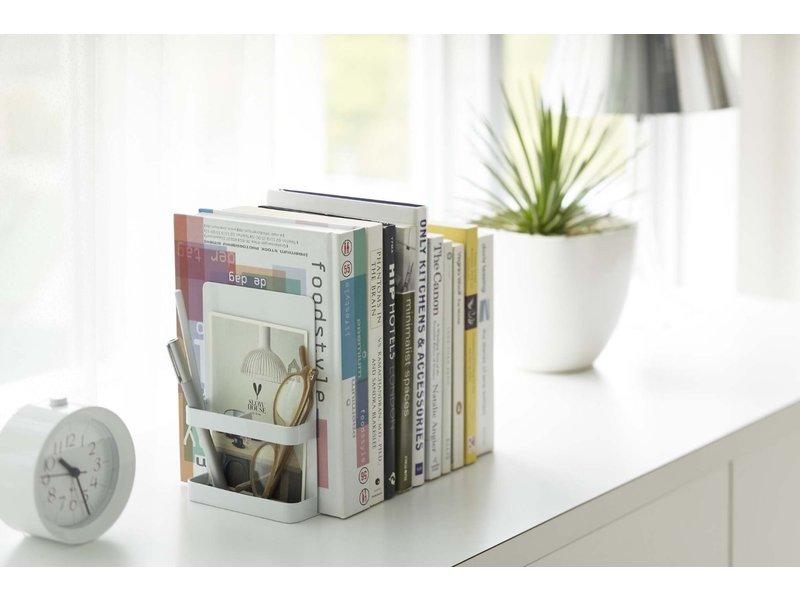 Yamazaki  Boekensteun Tower - tweeledig - wit - met opbergvakken
