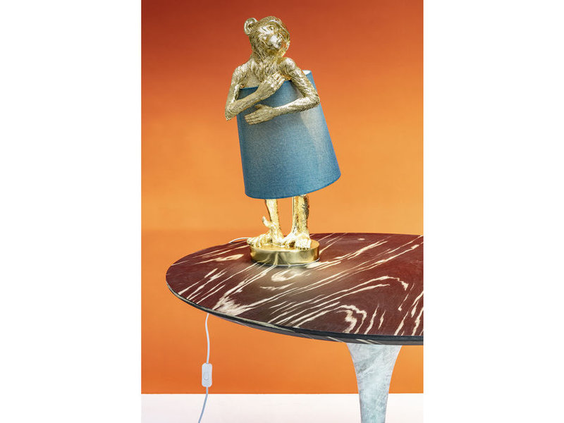 Karé Design Lampe de Table Animal Singe - or - bleu