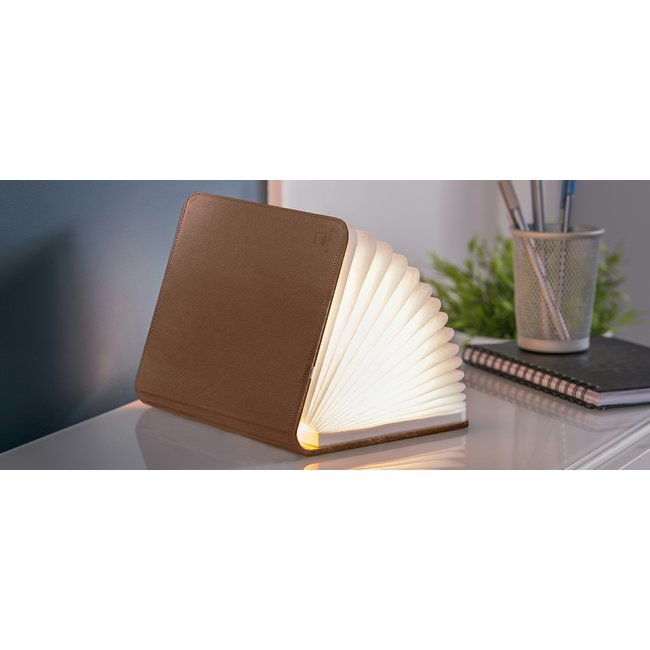 Gingko Smart Book Light - bruin leder - small