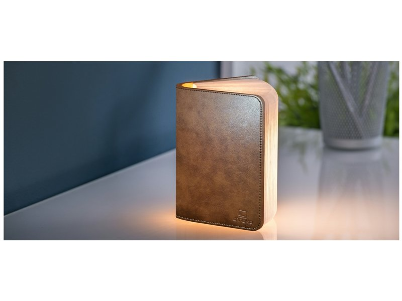 Gingko Smart Book Light - brown leather - small