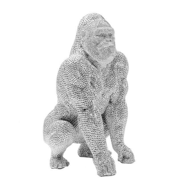 Decoratief Beeld Gorilla Aap - zilver - 46 cm