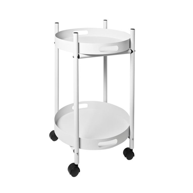 Pusher Trolley Simple - wit - 2 afneembare dienbladen